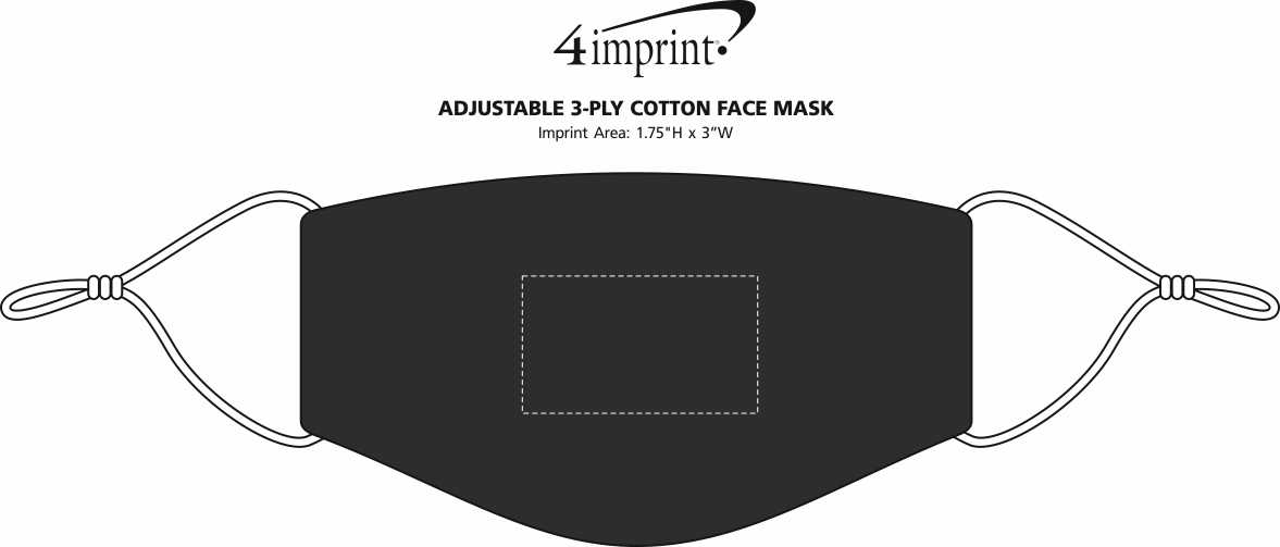 Imprint Area of Adjustable 3-Ply Cotton Face Mask