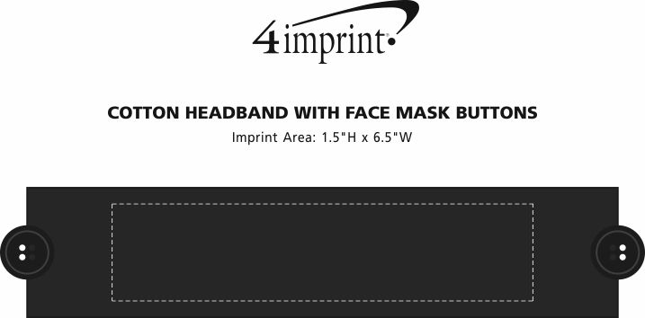 Imprint Area of Cotton Headband with Face Mask Buttons