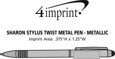Imprint Area of Sharon Stylus Twist Metal Pen - Metallic
