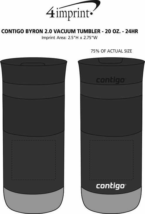 Imprint Area of Contigo Byron 2.0 Vacuum Tumbler - 20 oz. - 24 hr