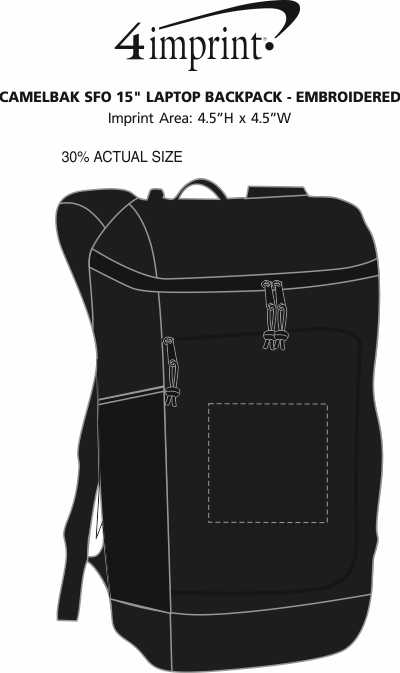 """Imprint Area of CamelBak SFO 15"""" Laptop Backpack - Embroidered"""