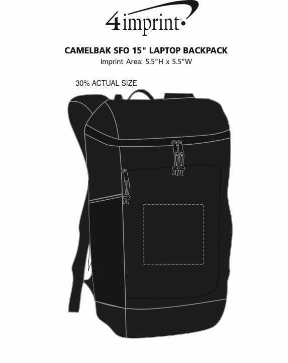 "Imprint Area of CamelBak SFO 15"" Laptop Backpack"