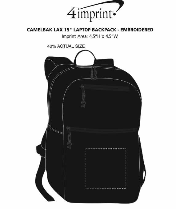 """Imprint Area of CamelBak LAX 15"""" Laptop Backpack - Embroidered"""