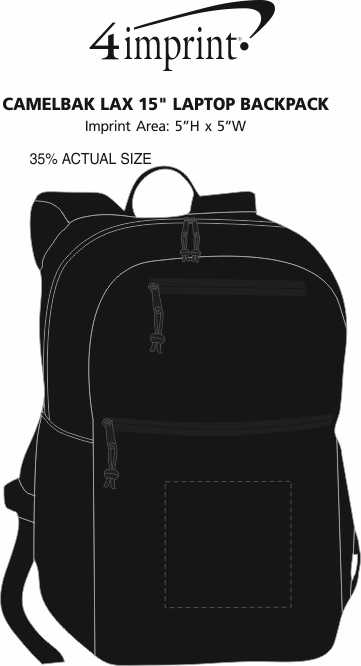 """Imprint Area of CamelBak LAX 15"""" Laptop Backpack"""
