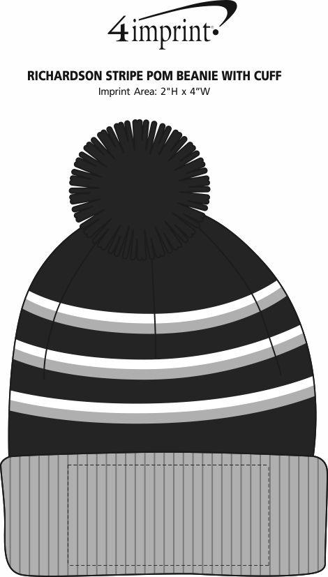 Imprint Area of Richardson Stripe Pom Beanie with Cuff