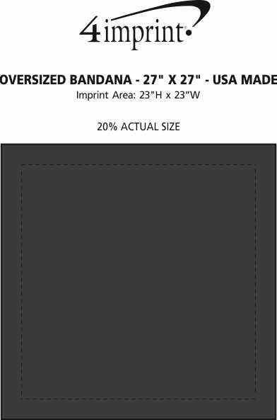 "Imprint Area of Oversized Bandana - 27"" x 27"" - USA Made"
