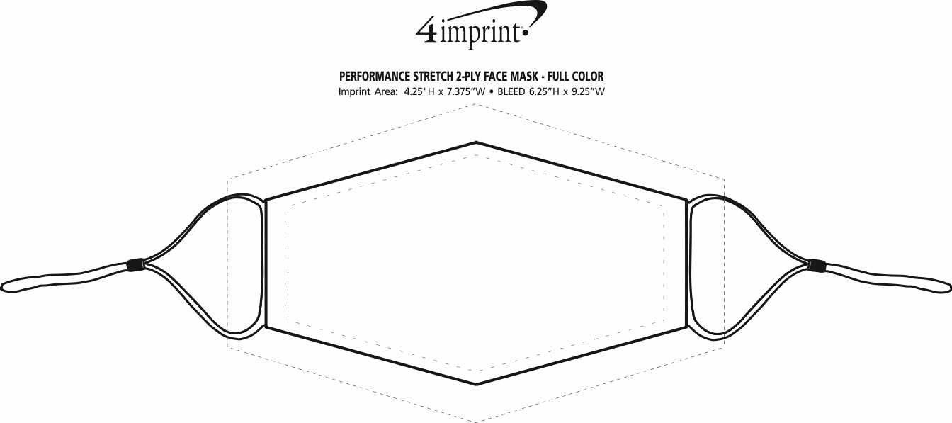 Imprint Area of Performance Stretch 2-Ply Face Mask - Full Color