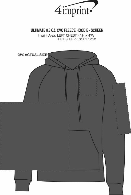 Imprint Area of Ultimate 8.3 oz. CVC Fleece Hoodie - Screen