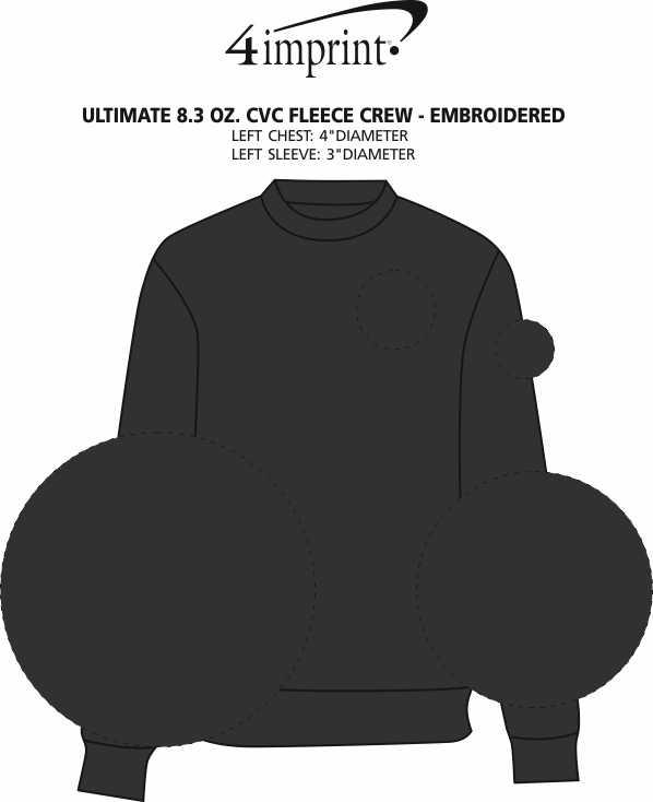 Imprint Area of Ultimate 8.3 oz. CVC Fleece Crew - Embroidered
