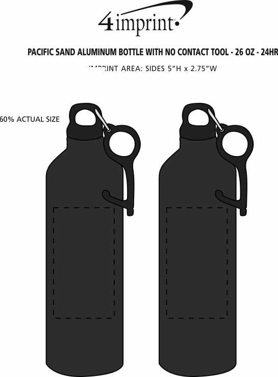 Imprint Area of Pacific Sand Aluminum Bottle with No Contact Tool - 26 oz. - 24 hr