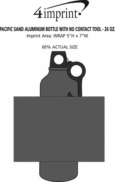 Imprint Area of Pacific Sand Aluminum Bottle with No Contact Tool - 26 oz.