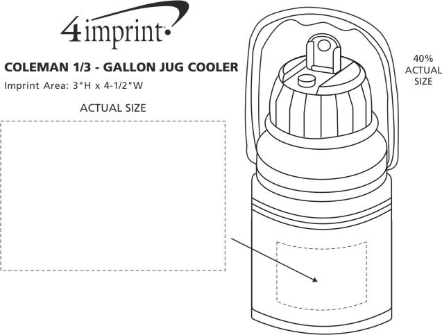 Imprint Area of Coleman 1/3-Gallon Jug Cooler