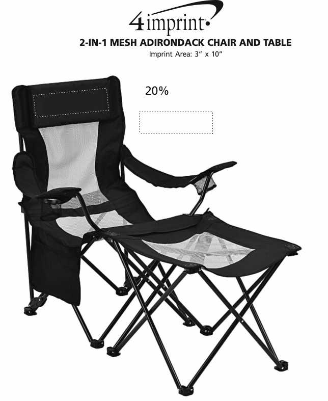 Imprint Area of 2-in-1 Mesh Adirondack Chair and Table