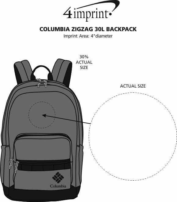 Imprint Area of Columbia Zigzag 30L Backpack