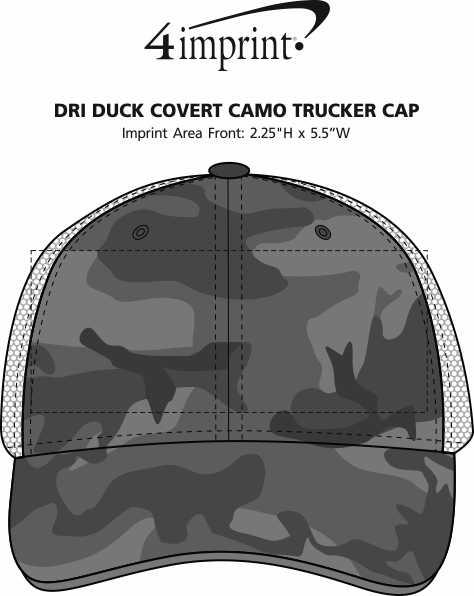 Imprint Area of DRI DUCK Covert Camo Trucker Cap