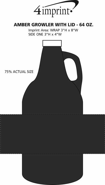 Imprint Area of Amber Growler with Lid - 64 oz.