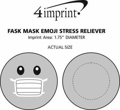 Imprint Area of Face Mask Emoji Stress Reliever