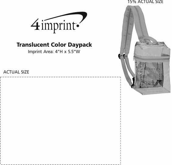 Imprint Area of Translucent Color Daypack