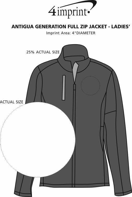Imprint Area of Antigua Generation Full-Zip Jacket - Ladies'