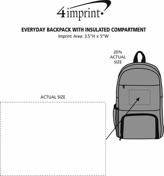 Imprint Area of Everyday Backpack with Insulated Compartment