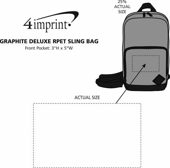 Imprint Area of Graphite Deluxe RPET Sling Bag