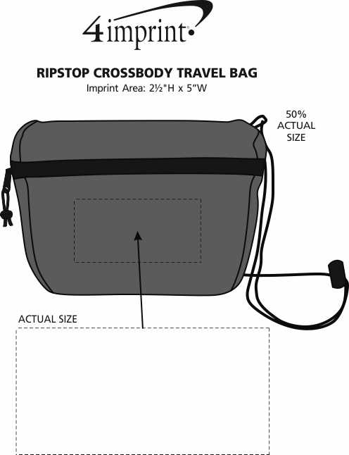 Imprint Area of Ripstop Crossbody Travel Bag