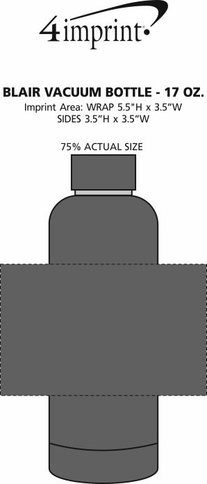 Imprint Area of Blair Vacuum Bottle - 17 oz.