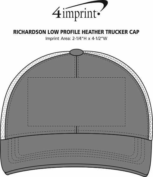 Imprint Area of Richardson Low Profile Heather Trucker Cap