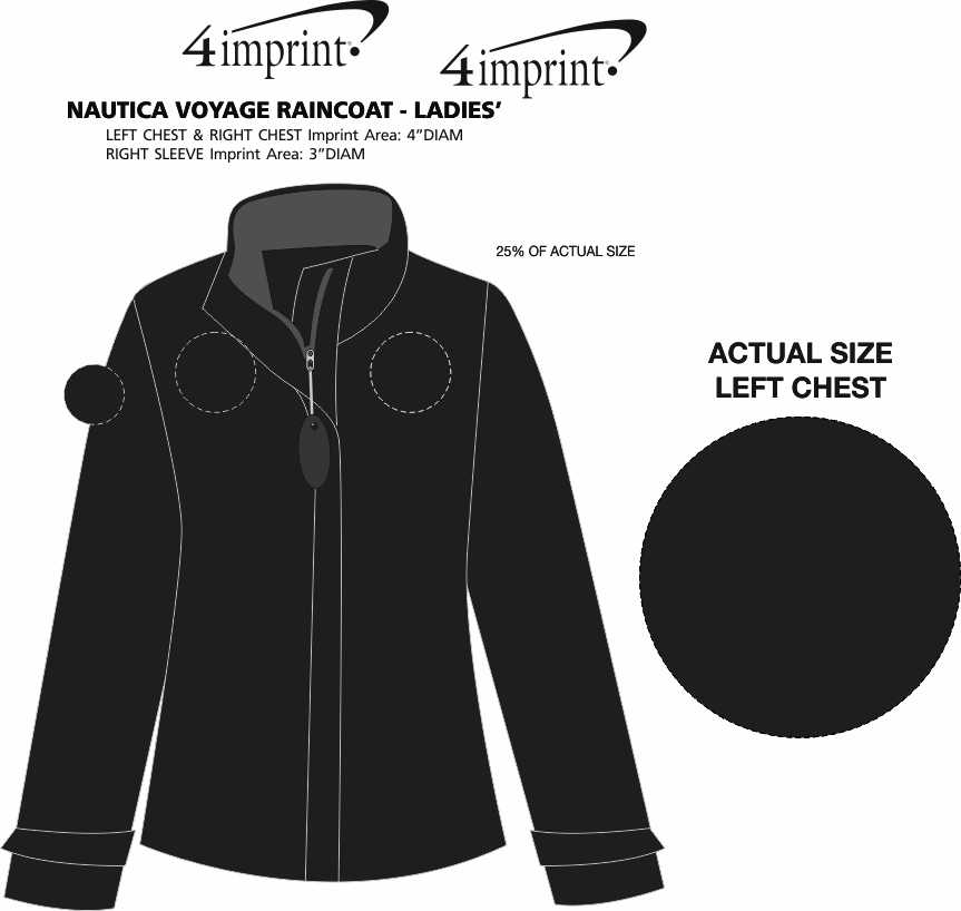 Imprint Area of Nautica Voyage Raincoat - Ladies'