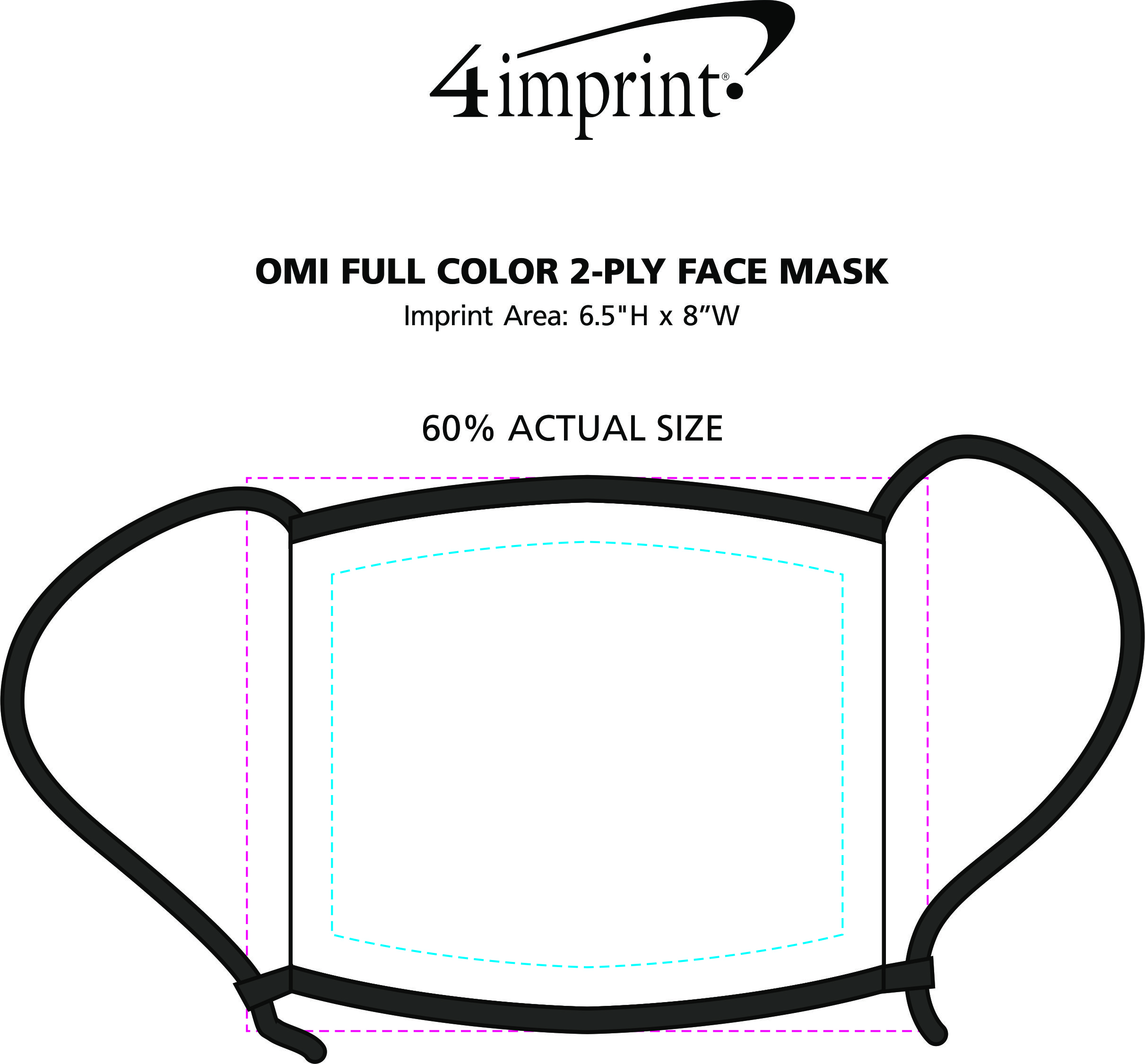 Imprint Area of Omi Full Color 2-Ply Face Mask