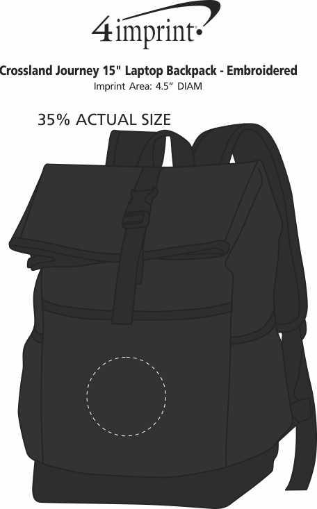 "Imprint Area of Crossland Journey 15"" Laptop Backpack - Embroidered"