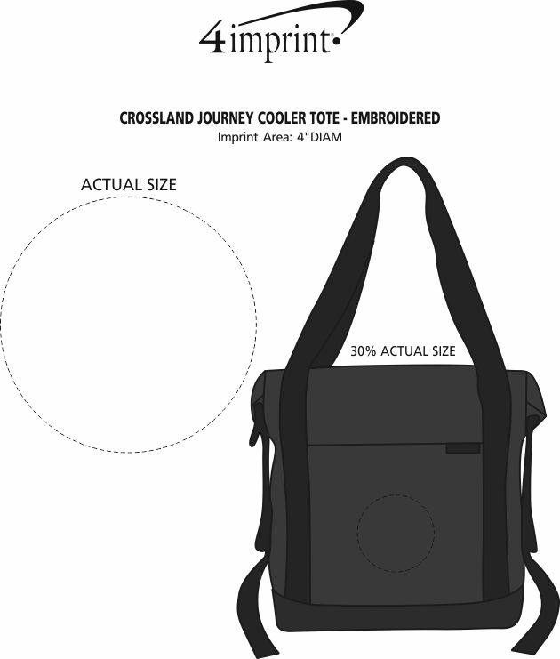 Imprint Area of Crossland Journey Cooler Tote - Embroidered