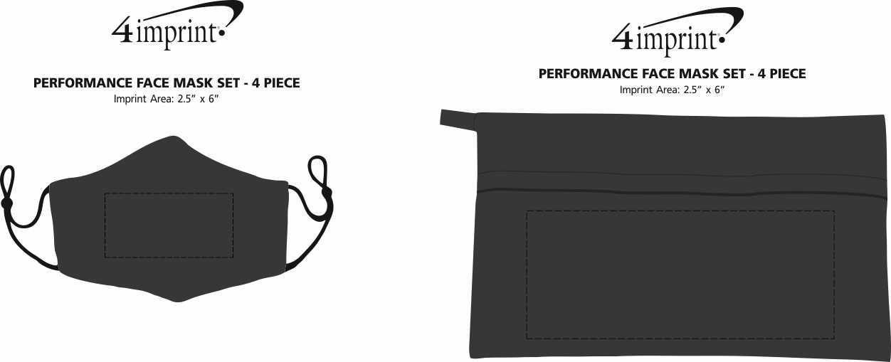 Imprint Area of Performance Face Mask Set - 4 Piece