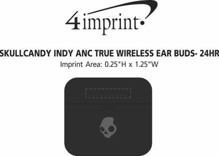 Imprint Area of Skullcandy Indy ANC True Wireless Ear Buds - 24 hr