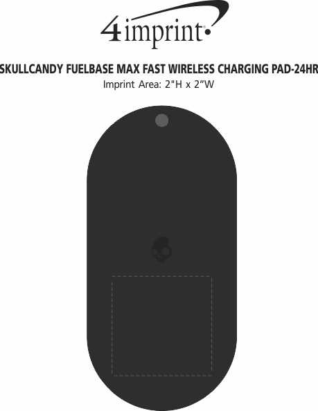 Imprint Area of Skullcandy Fuelbase Max Fast Wireless Charging Pad - 24 hr