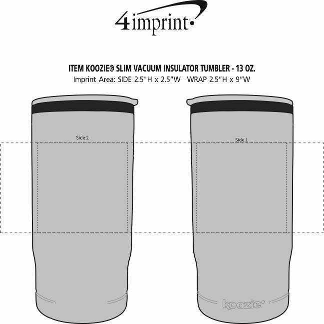 Imprint Area of Koozie® Slim Vacuum Insulator Tumbler - 13 oz.
