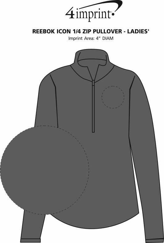 Imprint Area of Reebok Icon 1/2-Zip Pullover - Ladies'