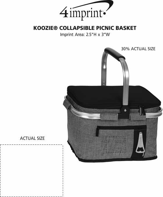 Imprint Area of Koozie® Collapsible Picnic Basket