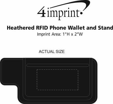 Imprint Area of Heathered RFID Phone Wallet and Stand