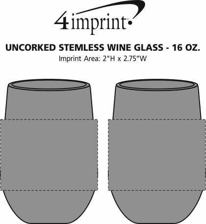 Imprint Area of Uncorked Stemless Wine Glass - 16 oz.