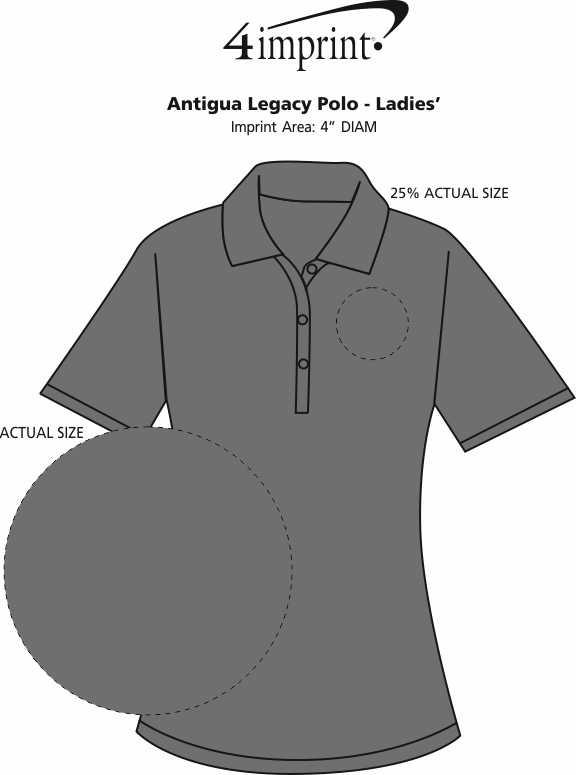 Imprint Area of Antigua Legacy Polo - Ladies'