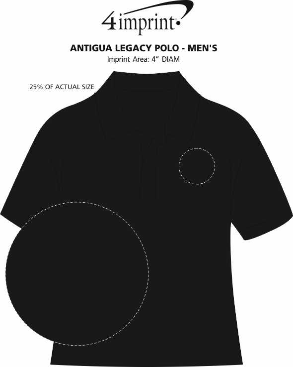 Imprint Area of Antigua Legacy Polo - Men's