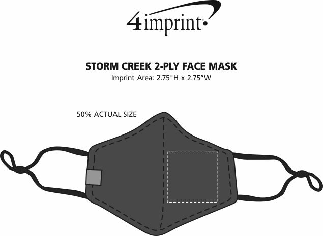 Imprint Area of Storm Creek 2-Ply Face Mask