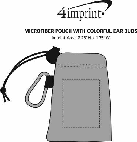 Imprint Area of Microfiber Pouch with Colorful Ear Buds
