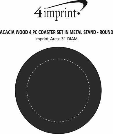 Imprint Area of Acacia Wood 4 pc Coaster Set in Metal Stand - Round
