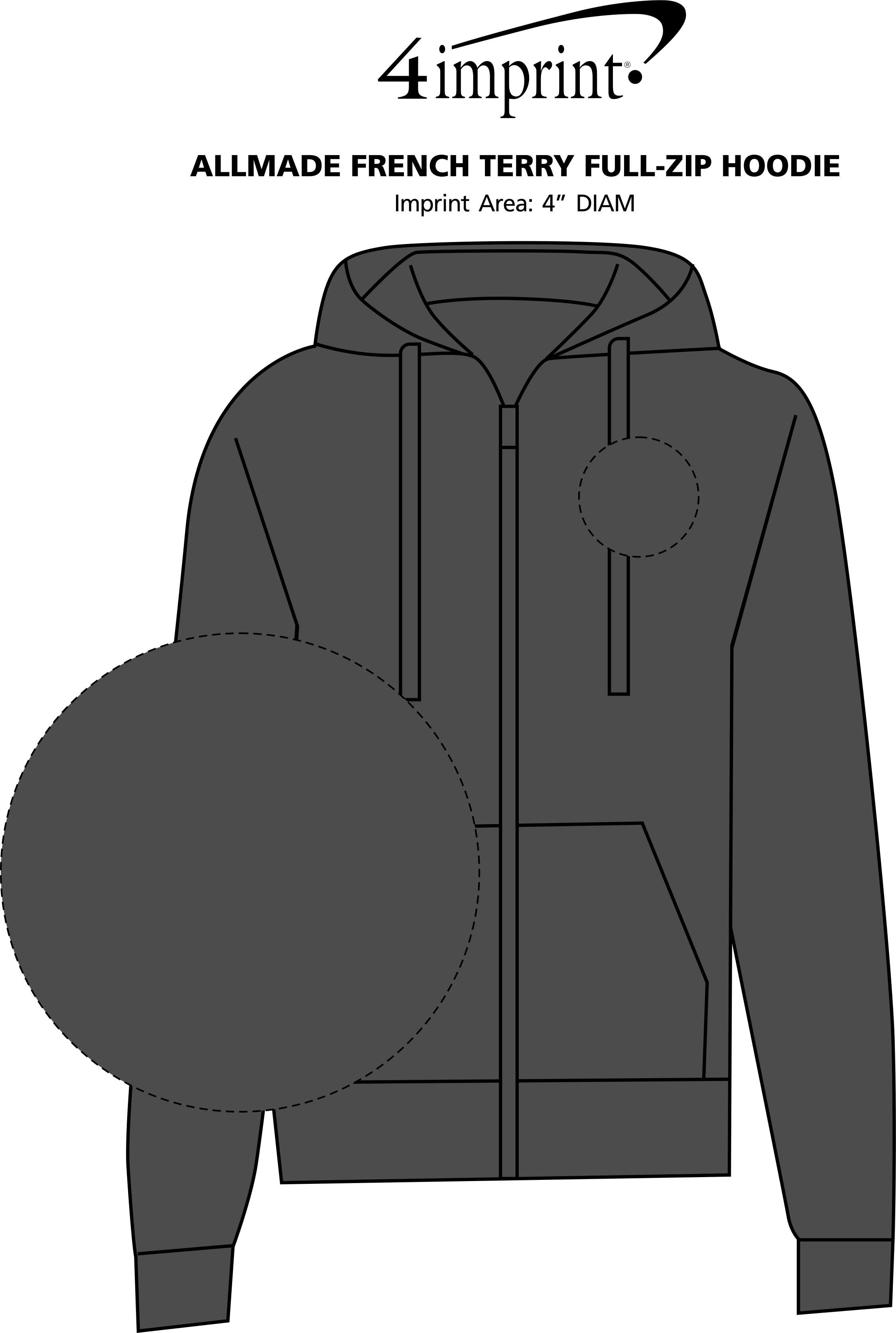 Imprint Area of Allmade French Terry Full-Zip Hoodie