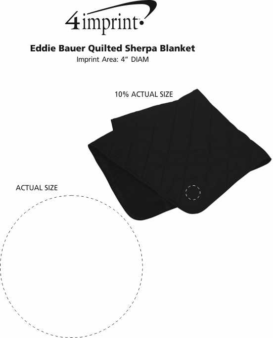 Imprint Area of Eddie Bauer Quilted Sherpa Blanket