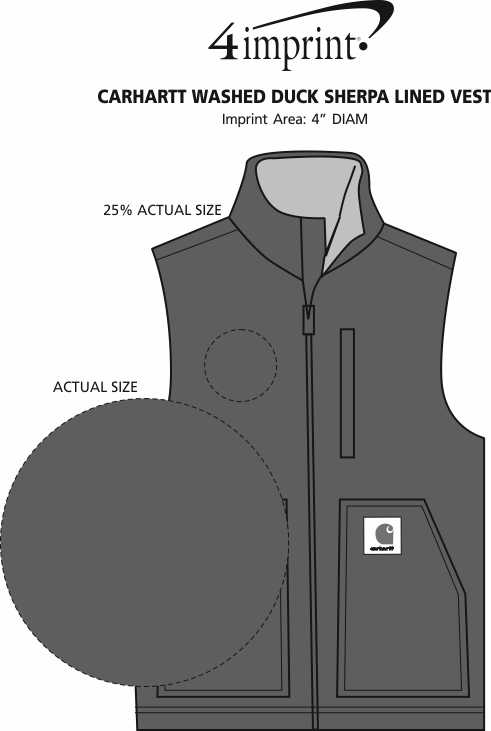 Imprint Area of Carhartt Washed Duck Sherpa Lined Vest