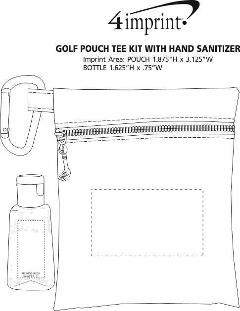 Imprint Area of Golf Pouch Tee Kit with Hand Sanitizer