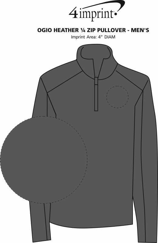 Imprint Area of OGIO Heather 1/4 Zip Pullover - Men's